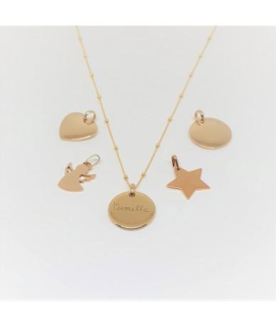 Chaine et pendentifs en or plaqué pour les colliers personnalisés faits par Anne L'Or London