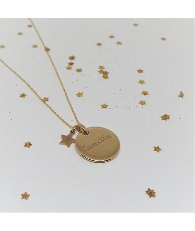 Chaine et pendentif en or plaqué pour collier personnalisé, gravure par Anne L'Or
