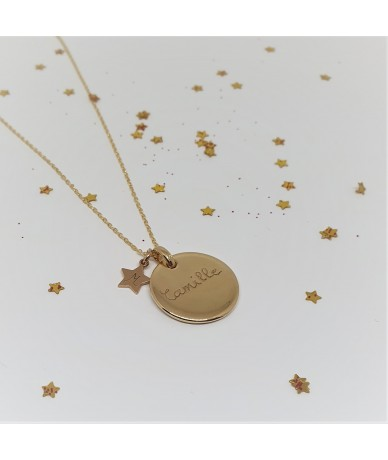 gold-plated chains and charms for personalised necklace by Anne L Or London engraving