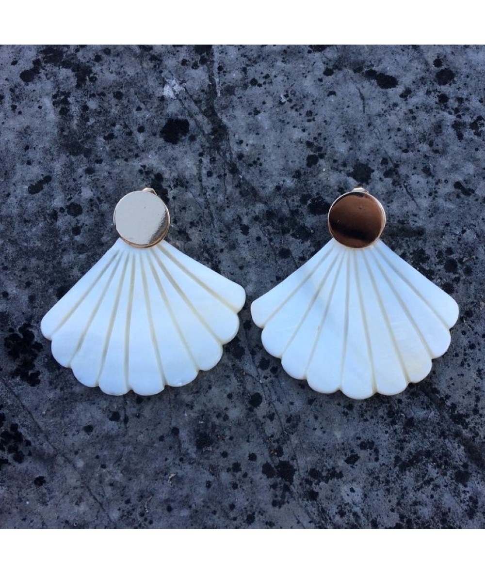 Mother-on-pearl earrings handmade in London in limited edition by Anne L'Or London