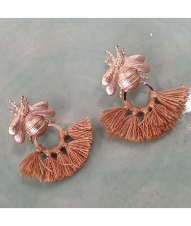 Bees earrings with golden tassels handmade in London by Anne L'Or