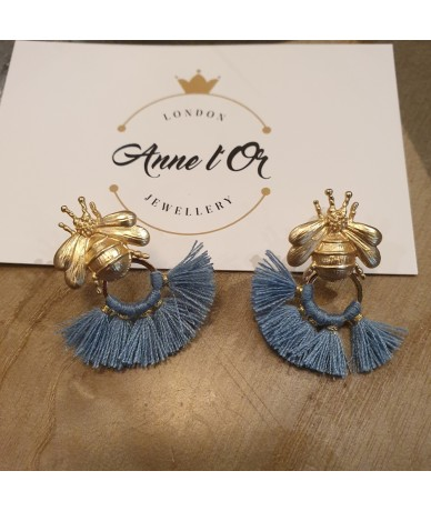 Bees earrings with blue tassels handmade in London by Anne L'Or