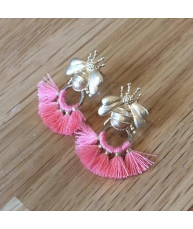 Bees earrings with pink tassels handmade in London by Anne L'Or