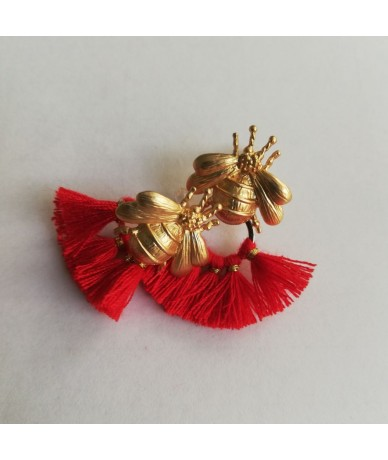 Bees earrings with red tassels handmade in London by Anne L'Or