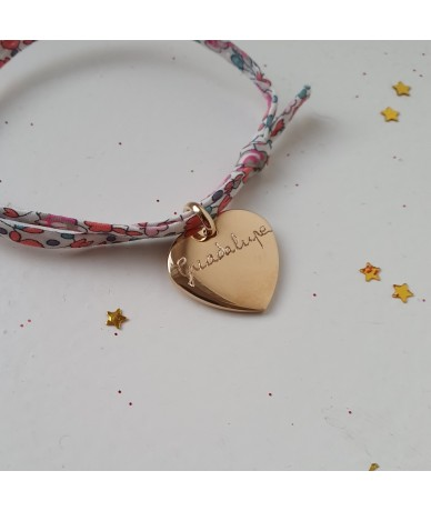 Liberty personalised bracelet with a gold-plated heart charm by Anne L'Or