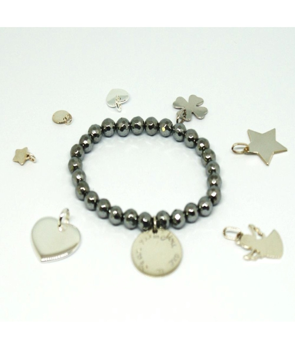 Gemstone bracelet with Hematite and personalised Silver 925 charm by Anne L Or