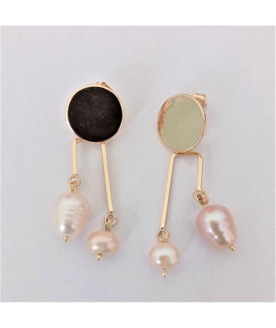 Handmade earrings with fresh baroque water pearls and gold-plated elements, by Anne L Or London