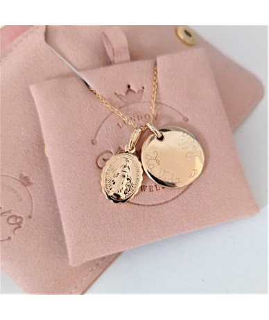 Virgin Mary Personnalised Necklace with its pink velvet gift set by Anne L'Or London