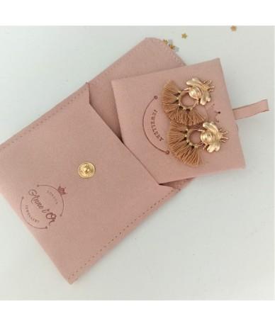 Golden bees earrings pink velvet gift set handmade jewellery by Annelor London