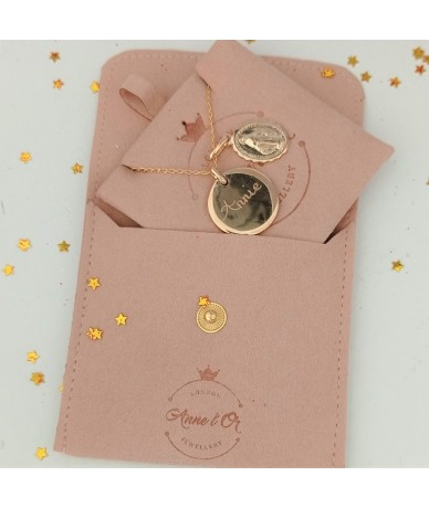 Pink velvet gift purse by Anne L 'Or London for personalised jewellery made in Wimbledon London